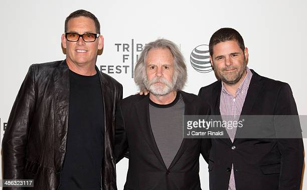 Director Mike Fleiss musician Bob Weir and producer Marc Weingarten attend the screening of The Other One The Long Strange Trip of Bob Weir during...