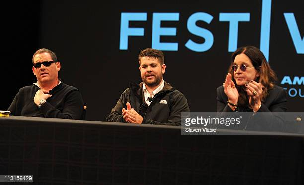 Director Mike Fleiss producer Jack Osbourne and musician Ozzy Osbourne at the God Bless Ozzy Osbourne Press Conference during the 2011 Tribeca Film...