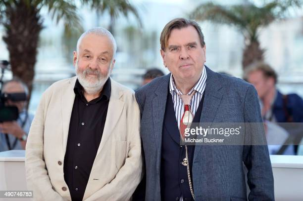 Director Mike Leigh and actor Timothy Spall attend the Mr Turner photocall during the 67th Annual Cannes Film Festival on May 15 2014 in Cannes France