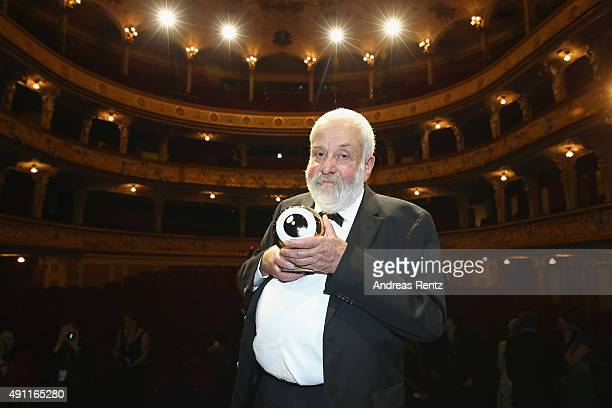 Director Mike Leigh poses with the ZFF Lifetime Honor award during the Award Night during the Zurich Film Festival on October 3 2015 in Zurich...