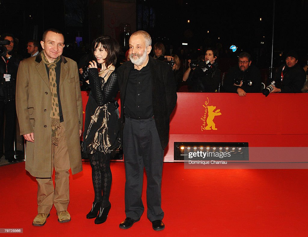 Director Mike Leigh (L), Sally Hawkins and Eddie Marsan attend the 'Happy-Go-Lucky' Premiere as part of the 58th Berlinale Film Festival at the Berlinale Palast on February 12, 2008 in Berlin, Germany.