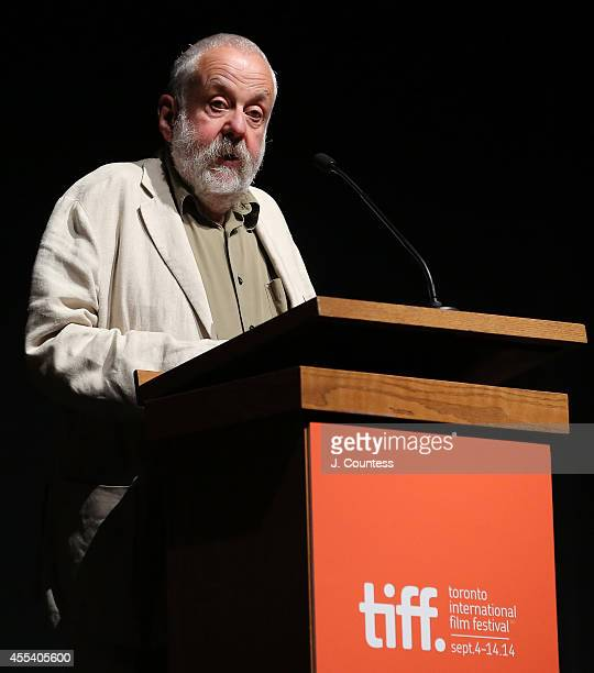 Director Mike Leigh speaks during the intro of the 'Mr Turner' Premiere during 2014 Toronto International Film Festival at The Elgin on September 8...