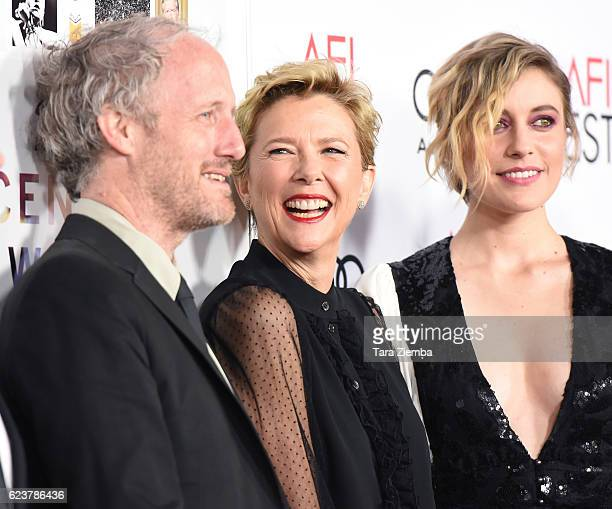 Director Mike Mills actress Annette Bening and actress Greta Gerwig attend a tribute to Annette Bening and gala screening of A24's 20th Century Women...