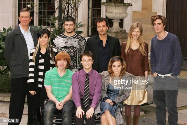 Director Mike Newell, actors Katie Leung, Stanislav Ianevski, producer David Heyman, actors Clemence Poesy and Robert Pattinson, Rupert Grint, Daniel...