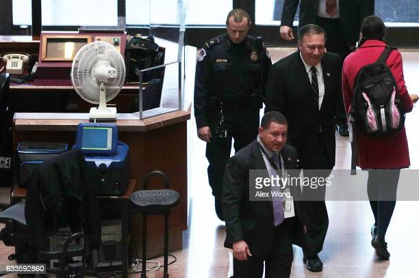 Director Mike Pompeo arrives at Hart Senate Office Building on Capitol Hill February 2 2017 in Washington DC Pompeo is meeting with lawmakers