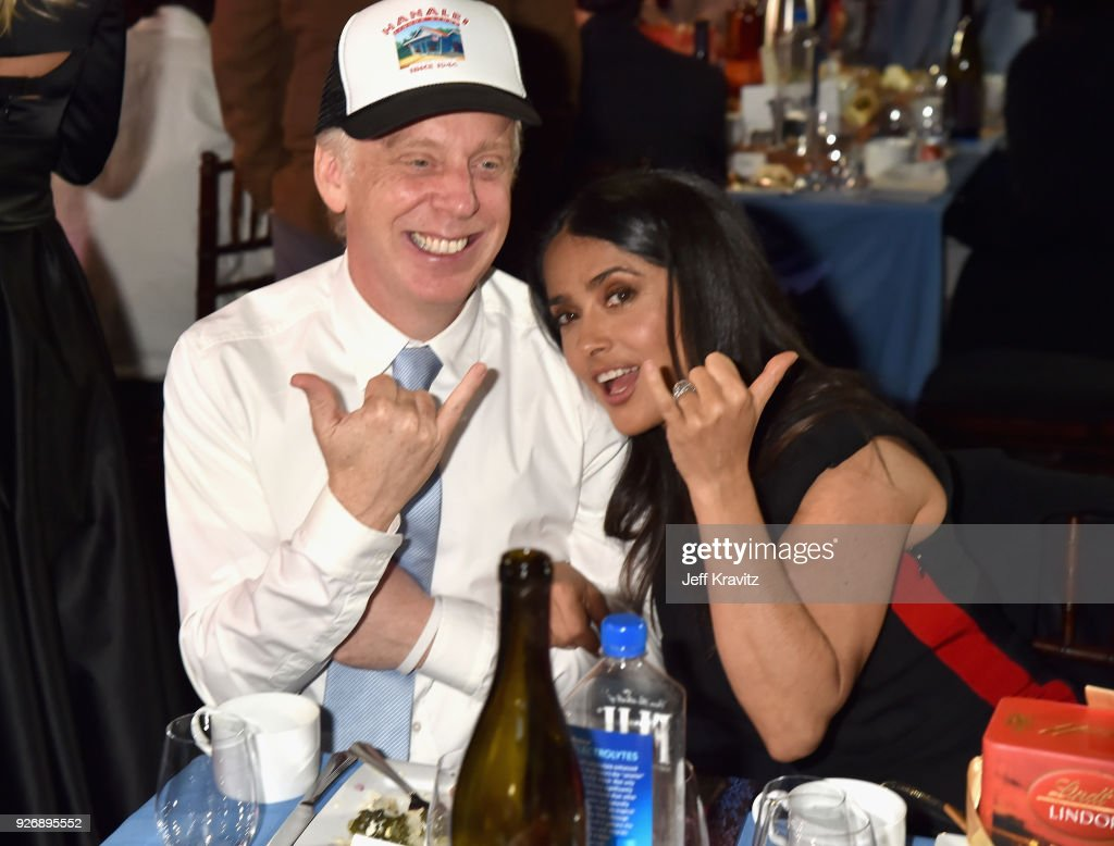 Director Mike White (L) and Salma Hayek Pinault with FIJI Water during the 33rd Annual Film Independent Spirit Awards on March 3, 2018 in Santa Monica, California.