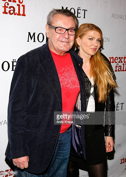 Director Milos Forman and Martina Zborilova attend the VIP performance of Next Fall on Broadway at the Helen Hayes Theatre on March 10 2010 in New...
