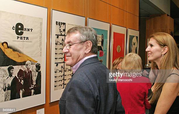 Director Milos Forman and wife Martina in front of the poster of his movie Black Peter during An Academy Salute to his career at the Academy of...