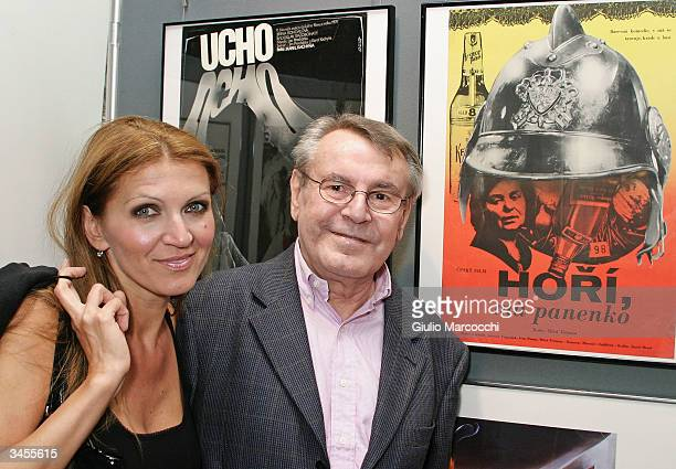 Director Milos Forman and wife Martina poses in front of the poster of his movie The Firemen's Ball during An Academy Salute to his career at the...