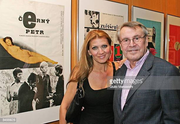 Director Milos Forman and wife Martina poses in front of the poster of his movie Black Peter during An Academy Salute to his career at the Academy of...
