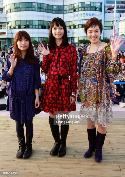 Director Mipo O actress Aoi Miyazaki and Shinobu Otake attend a Audience Meet and Greet 'Here Comes the Bride My Mom' at the Haeundae beach during...