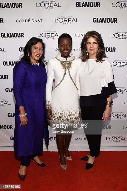 Director Mira Nair actress Lupita Nyong'o and president of L'Oreal Paris Karen Fondu attend the Glamour 2014 Women Of The Year Awards at Carnegie...