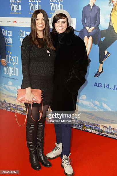 Director Mira Thiel and actress Nora Tschirner attend the premiere of the film 'Gut zu Voegeln' at Kino in der Kulturbrauerei on January 11 2016 in...