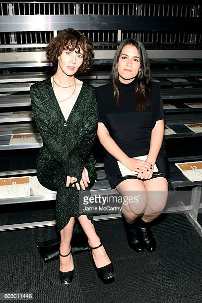 Director Miranda July and comedian Abbi Jacobson attend the Opening Ceremony fashion show Front Row during New York Fashion Week at Jacob Javits...
