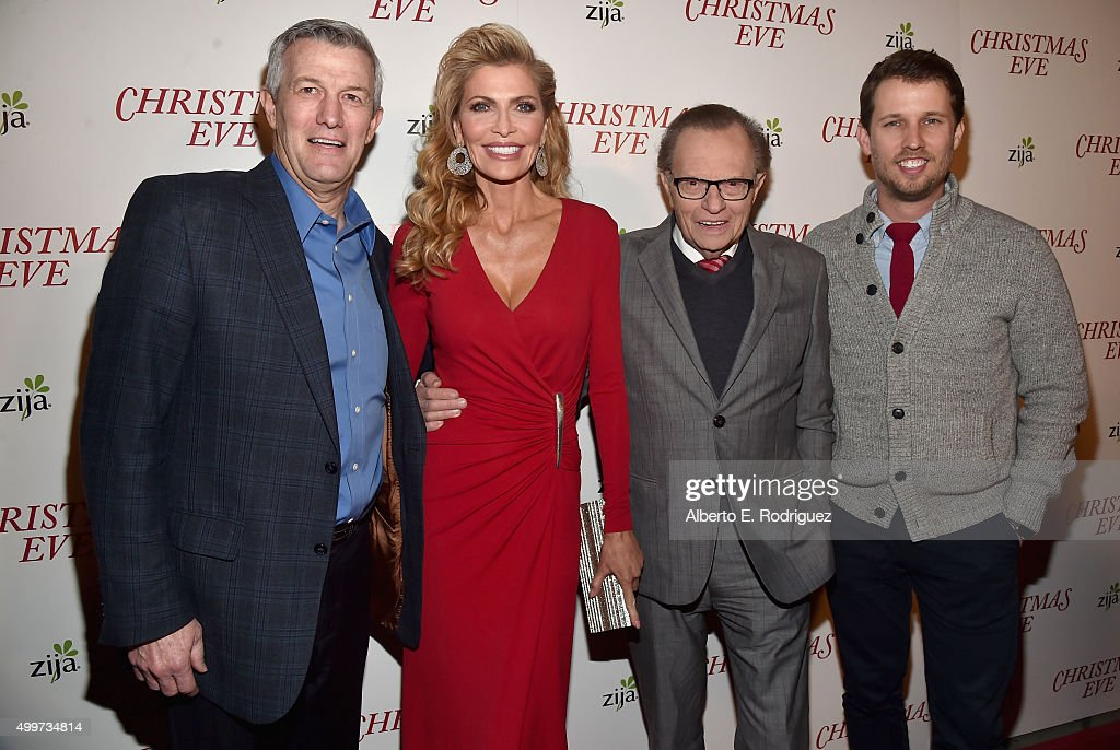Director Mitch Davis, actress/producer Shawn King, producer Larry King and actor Jon Heder attend the premiere of 'Christmas Eve' at ArcLight Hollywood on December 2, 2015 in Hollywood, California.