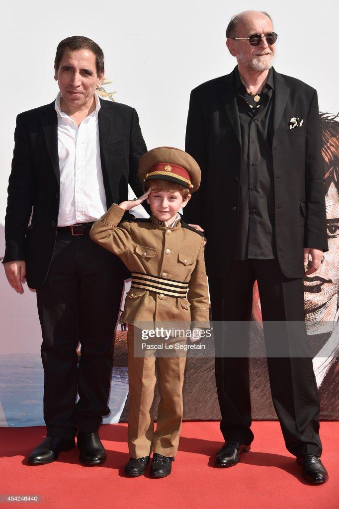 Director Mohsen Makhmalbaf, actors Dachi Orvelashvili and Misha Gomiashvili attend the 'The President' premiere during the 71st Venice Film Festival on August 27, 2014 in Venice, Italy.