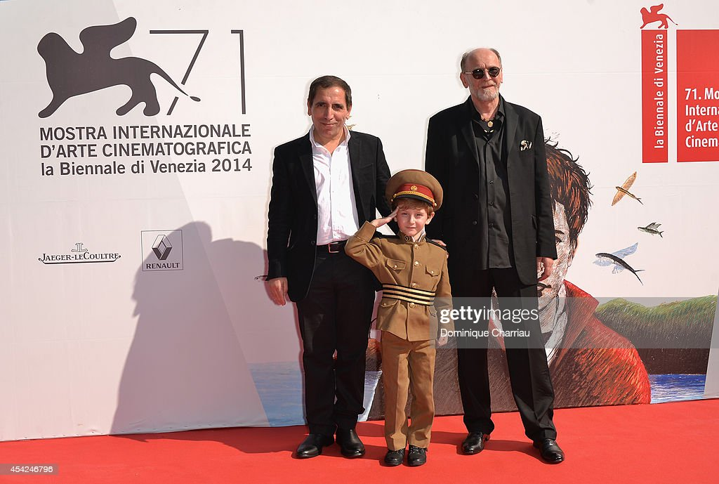Director Mohsen Makhmalbaf with actors Dachi Orvelashvili and Misha Gomiashvili attend the 'The President' premiere during the 71st Venice Film Festival on August 27, 2014 in Venice, Italy.