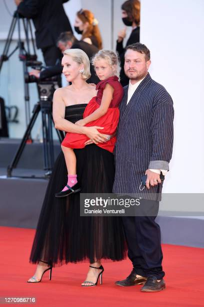 "Director Mona Fastvold, Adelaide James Fastvold Corbet and Brady Corbet walk the red carpet ahead of the movie ""The World To Come"" at the 77th Venice..."