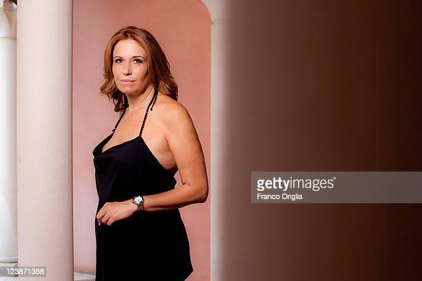 Director Monica Maggioni poses at a portrait session in the Hotel Excelsior during the 68th Venice Film Festival on September 3 2011 in Venice Italy