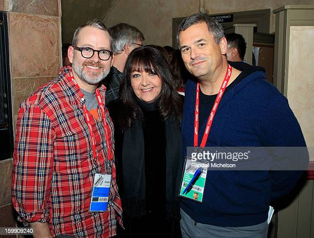 Director Morgan Neville BMI Executive Doreen RingerRoss and Journalist Phil Gallo attends the BMI Sundance Dinner at Zoom Restaurant on January 22...