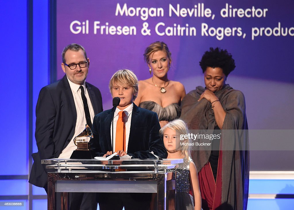 Director Morgan Neville, producer Caitrin Rogers, Vocalist Lisa Fischer and guests accept the Best Music Film award for '20 Feet from Stardom' onstage at the Premiere Ceremony during The 57th Annual GRAMMY Awards at the Nokia Theatre L.A. LIVE on February 8, 2015 in Los Angeles, California.
