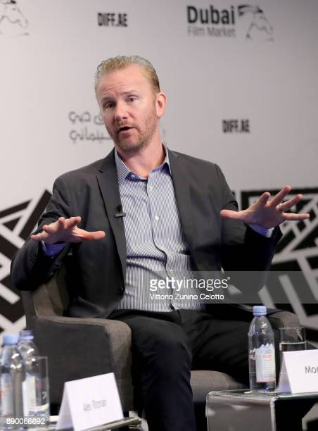 Director Morgan Spurlock speaks on stage during an In Conversation on day six of the 14th annual Dubai International Film Festival held at the...