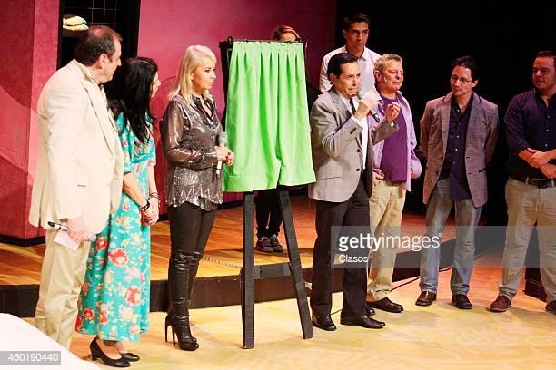 Director Morris Gilbert actresses Raquel Garza and Carla Estrada and actors Juan Jose Origel and Cesar Bono Celebrate the 100th performance of...