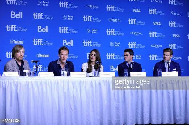 Director Morten Tyldum actor Benedict Cumberbatch actress Keira Knightley actor Matthew Goode and actor Alan Leech of 'The Imitation Game' speak...