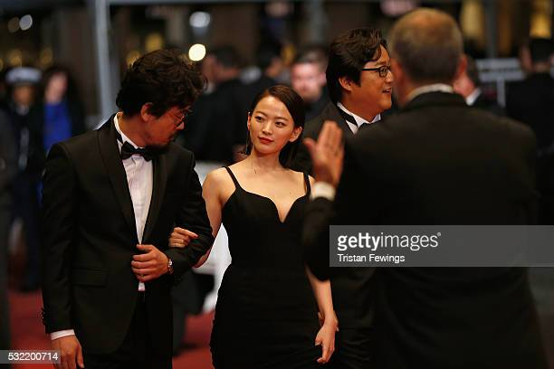 Director Na HongJin actress Chun WooHee and actor Kwak Dowon attend The Strangers Premiere during the 69th annual Cannes Film Festival at the Palais...