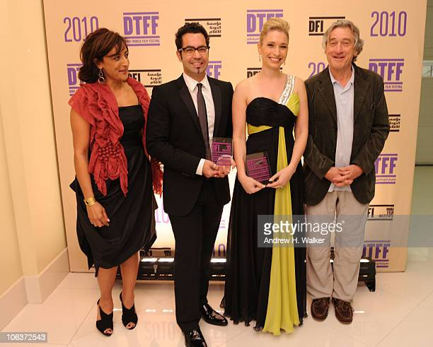 Director Najwa Najjar director Mahmoud Kaabour Eva Star Sayre and actor/cofounder of the Tribeca Film Festival Robert De Niro attend the Awards Show...