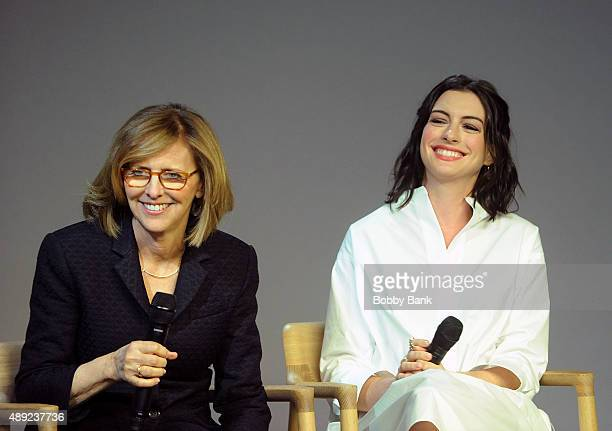 Director Nancy Meyers and Anne Hathaway of 'The Intern' attends the Meet The Filmmaker series at the Apple Store Soho on September 19 2015 in New...