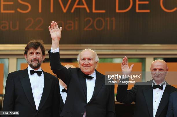 Director Nanni Moretti and actors Michel Piccoli and Dario Cantarelli attend the Habemus Papam premiere at the Palais des Festivals during the 64th...