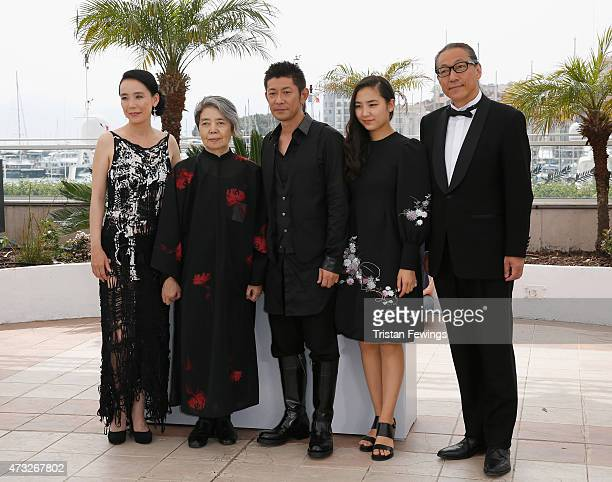 Director Naomi Kawase and actors Kirin Kiki Masatoshi Nagase Kyara Uchida and writer Durian Sukegawa attend a photocall for An during the 68th annual...