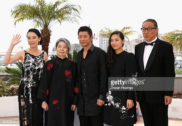Director Naomi Kawase and actors Kirin Kiki Masatoshi Nagase Kyara Uchida and Durian Sukegawa attend a photocall for An during the 68th annual Cannes...
