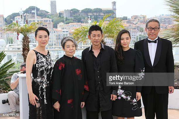Director Naomi Kawase and actors Kirin Kiki Masatoshi Nagase Kyara Uchida and Durian Sukegawa attend the An photocall during the 68th annual Cannes...