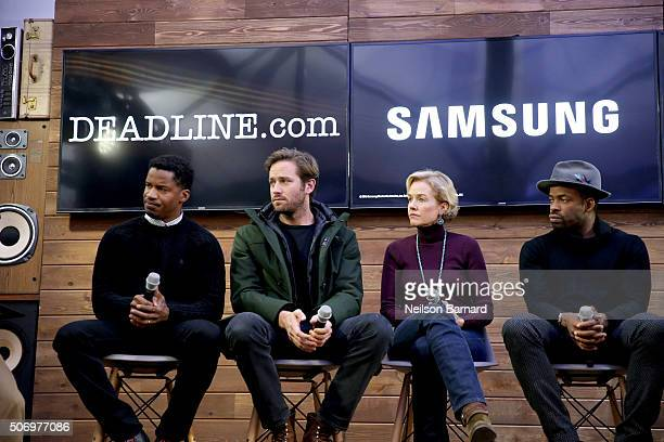 Director Nate Parker actors Armie Hammer Penelope Ann Miller and Chike Okonkwo discuss 'The Birth of a Nation' at the Deadlinecom panel at The...