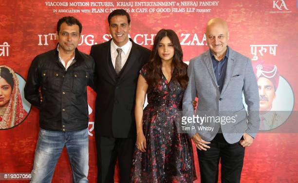 Director Neeraj Pandey and actors Anupam Kher Bhumi Pednekar and Akshay Kumar attending the 'Toilet Ek Prem Katha ' Photocall the worlds first...