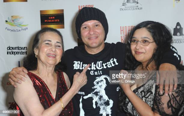 Director Neil D'Monte with mom Annie D'Monte and sister Yvonne D'Monte arrive for the Premiere Of 'Front Men' And 'Like Them' held at The Downtown...