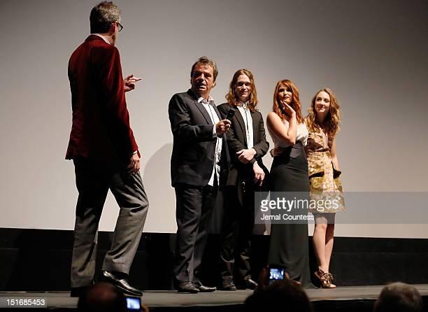 Director Neil Jordan actor Caleb Landry Jones actresses Gemma Arterton and Saoirse Ronan attend the Byzantium premiere during the 2012 Toronto...