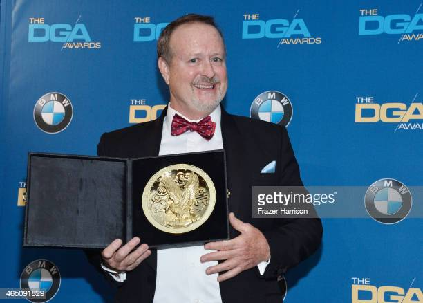Director Neil P DeGroot holds his trophy for Outstanding Directorial Achievement in Reality Programs '72 Hours The Lost Coast in the press room...