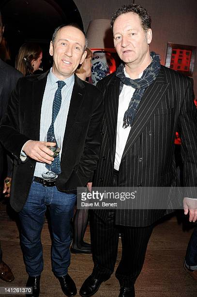 Director Nicholas Hytner and playwright Richard Bean attend an after party celebrating the press night performance of 'One Man Two Guvnors' as it...