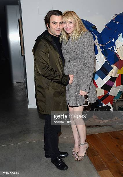 Director Nicholas Jarecki and musician Courtney Love attend The Weinstein Company hosts the premiere Of 'Sing Street' after party at Hotel Indigo on...