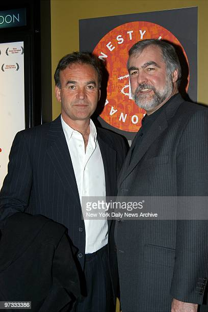 Director Nick Broomfield gets together with William Schulz executive director of Amnesty International USA at a special screening of Broomfield's...
