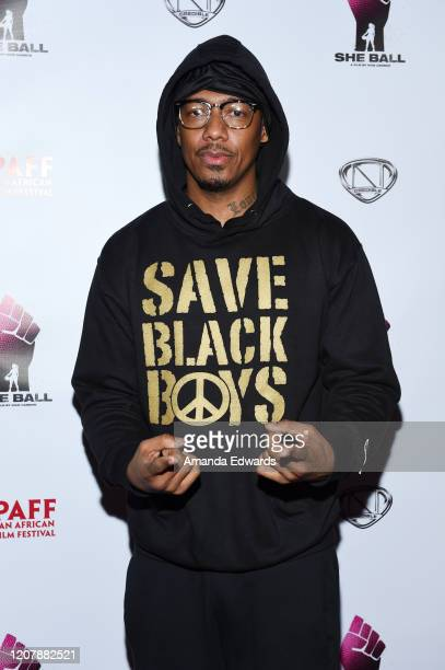 """Director Nick Cannon arrives at the 28th Annual Pan African Film Festival - """"She Ball"""" Premiere at Cinemark Baldwin Hills on February 21, 2020 in Los..."""