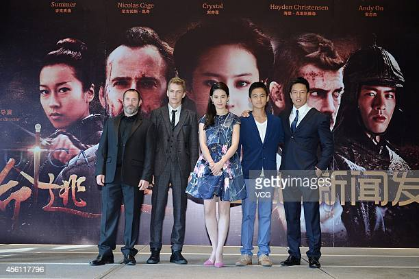Director Nick Powell actor Hayden Christensen actress Liu Yifei actor Su Jiahang and actor Andy On attend Nick Powell's new movie 'Outcast' premiere...