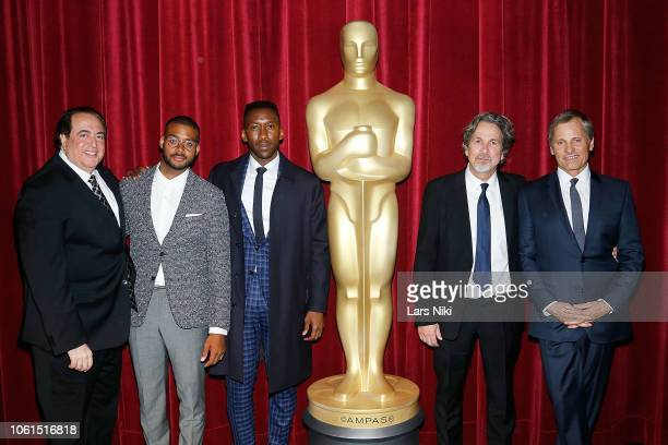Director Nick Vallelonga composer Kristopher Bowers actor Mahershala Ali director Peter Farrelly and actor Viggo Mortensen attend The Academy of...