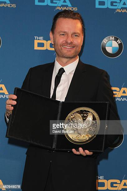 Director Nicolai Fuglsig, winner of the Outstanding Directorial Achievement in Documentary for Commercials, poses in the press room at the 67th...