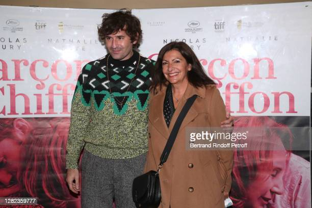 "Director Nicolas Maury and Mayor of Paris Anne Hidalgo attend the ""Garçon Chiffon"" premiere at UGC Les Halles on October 26, 2020 in Paris, France."