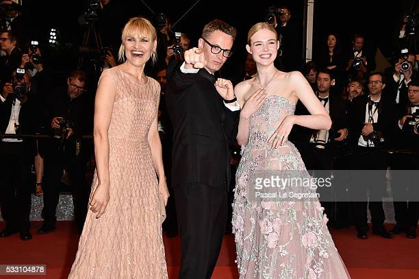 """Director Nicolas Winding Refn and Liv Corfixen and actress Elle Fanning attend """"The Neon Demon"""" Premiere during the 69th annual Cannes Film Festival..."""