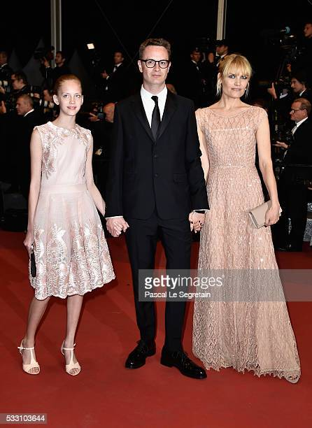 """Director Nicolas Winding Refn and Liv Corfixen and Lola attend """"The Neon Demon"""" Premiere during the 69th annual Cannes Film Festival at the Palais..."""